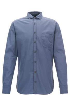 Slim-fit shirt in garment dyed cotton poplin, Blue