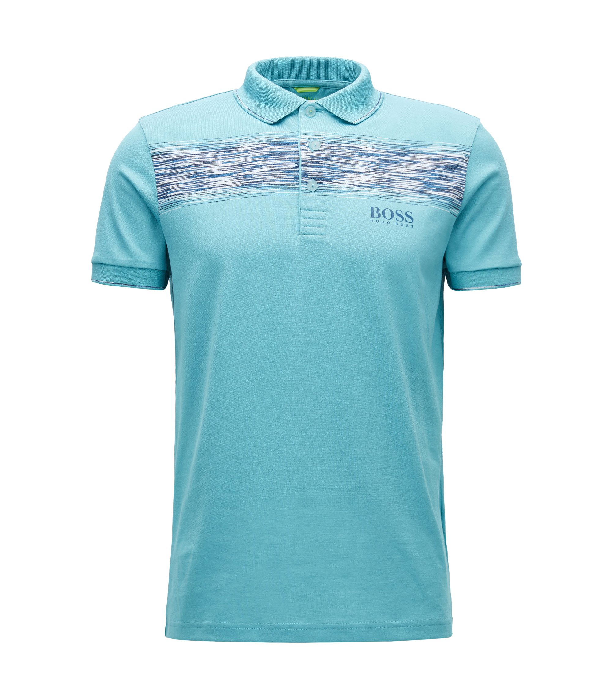 Regular-fit polo shirt in a cotton blend, Turquoise