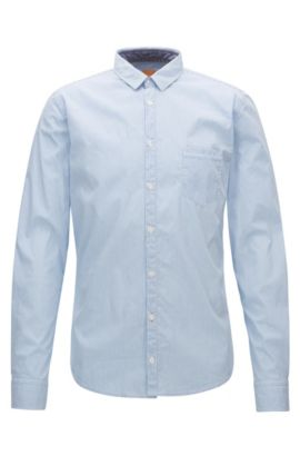 Camicia extra slim fit a righe in dobby elasticizzato, Celeste