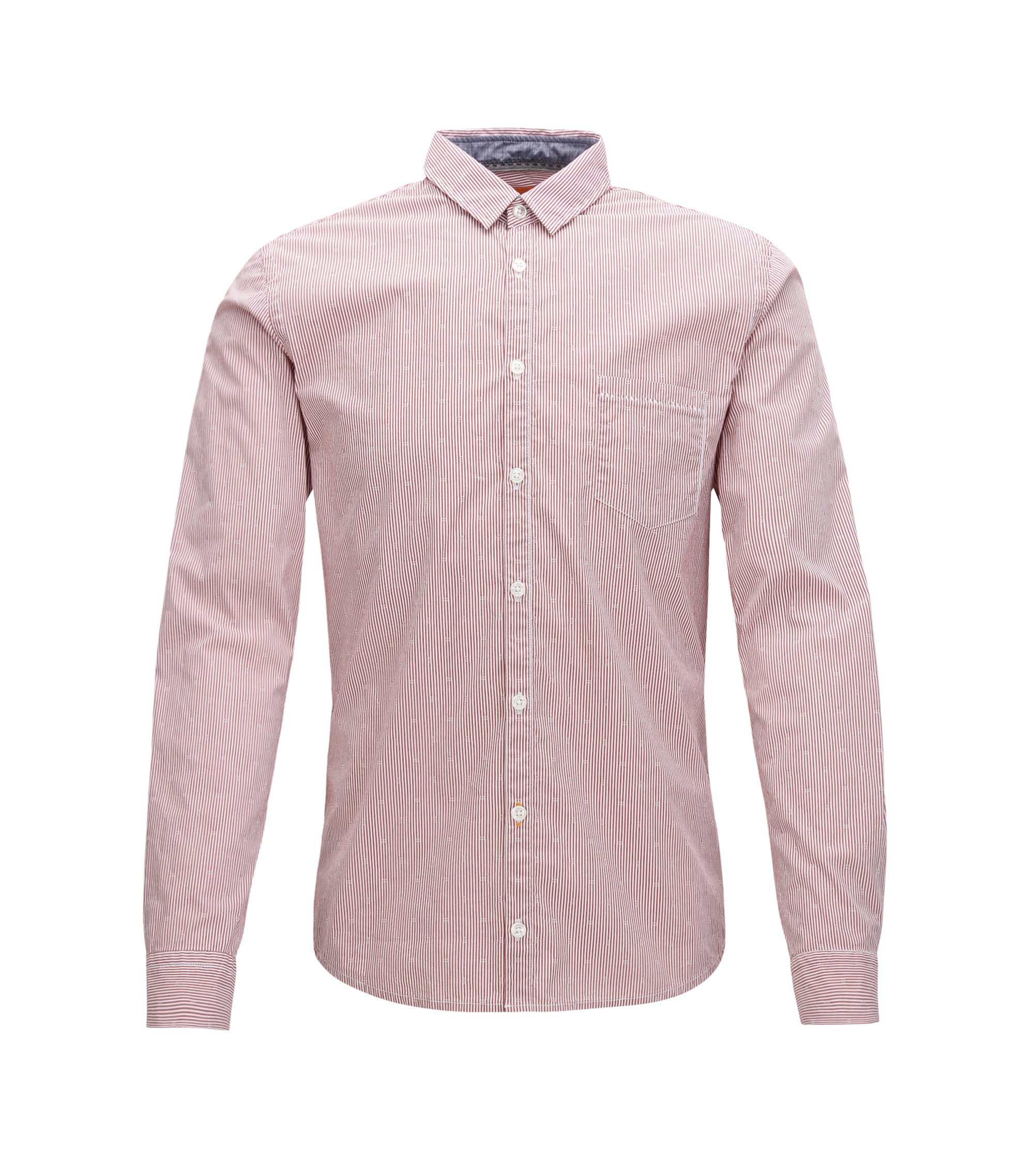 Striped extra-slim-fit shirt in stretch dobby, Light Red
