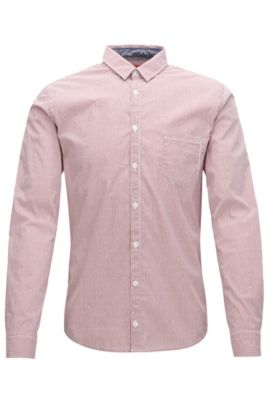 Chemise Extra Slim Fit à rayures en dobby stretch, Rouge clair
