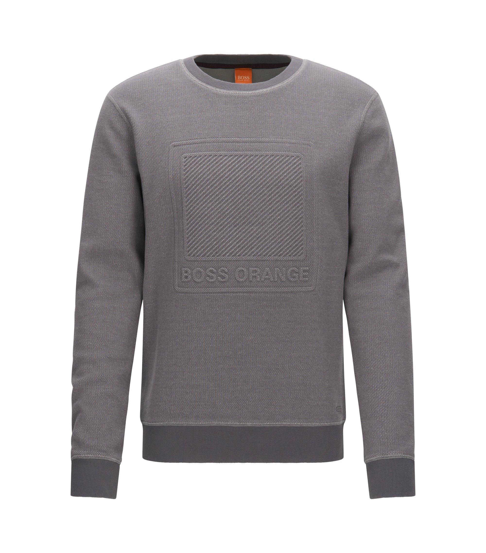 Jersey de algodón con logo en relieve, Gris claro