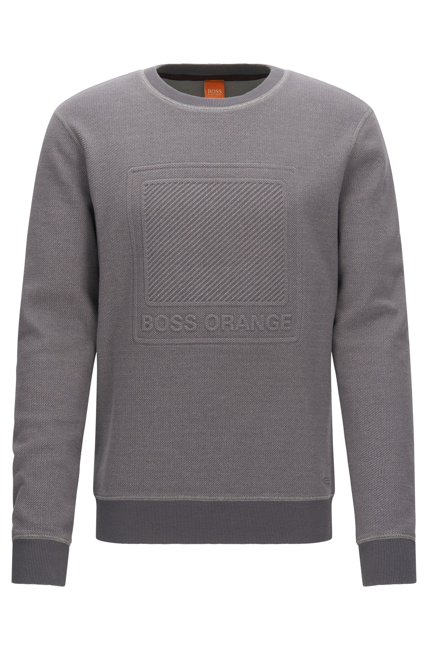 Cotton sweater with embossed logo