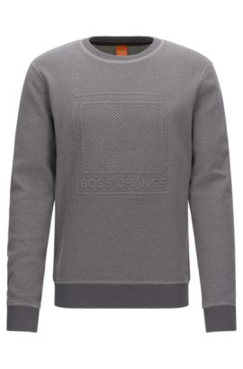 Cotton sweater with embossed logo, Light Grey