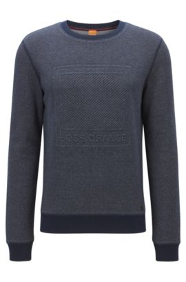 Cotton sweater with embossed logo, Dark Blue