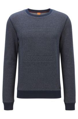 Regular-Fit Pullover aus Baumwolle mit Logo-Prägung, Dunkelblau
