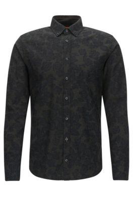 Camicia slim fit in twill di cotone, Verde scuro