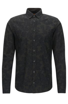 Slim-Fit Hemd aus Baumwoll-Twill, Dunkelgrün