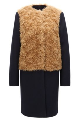 Statement relaxed-fit coat in a wool mix, Dark Blue