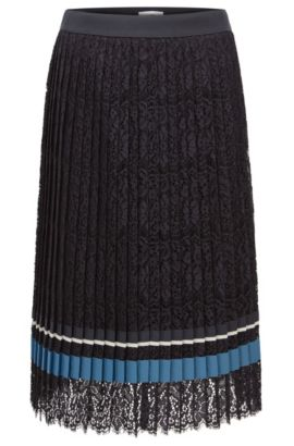 Midi skirt in pleated lace, Dark Blue