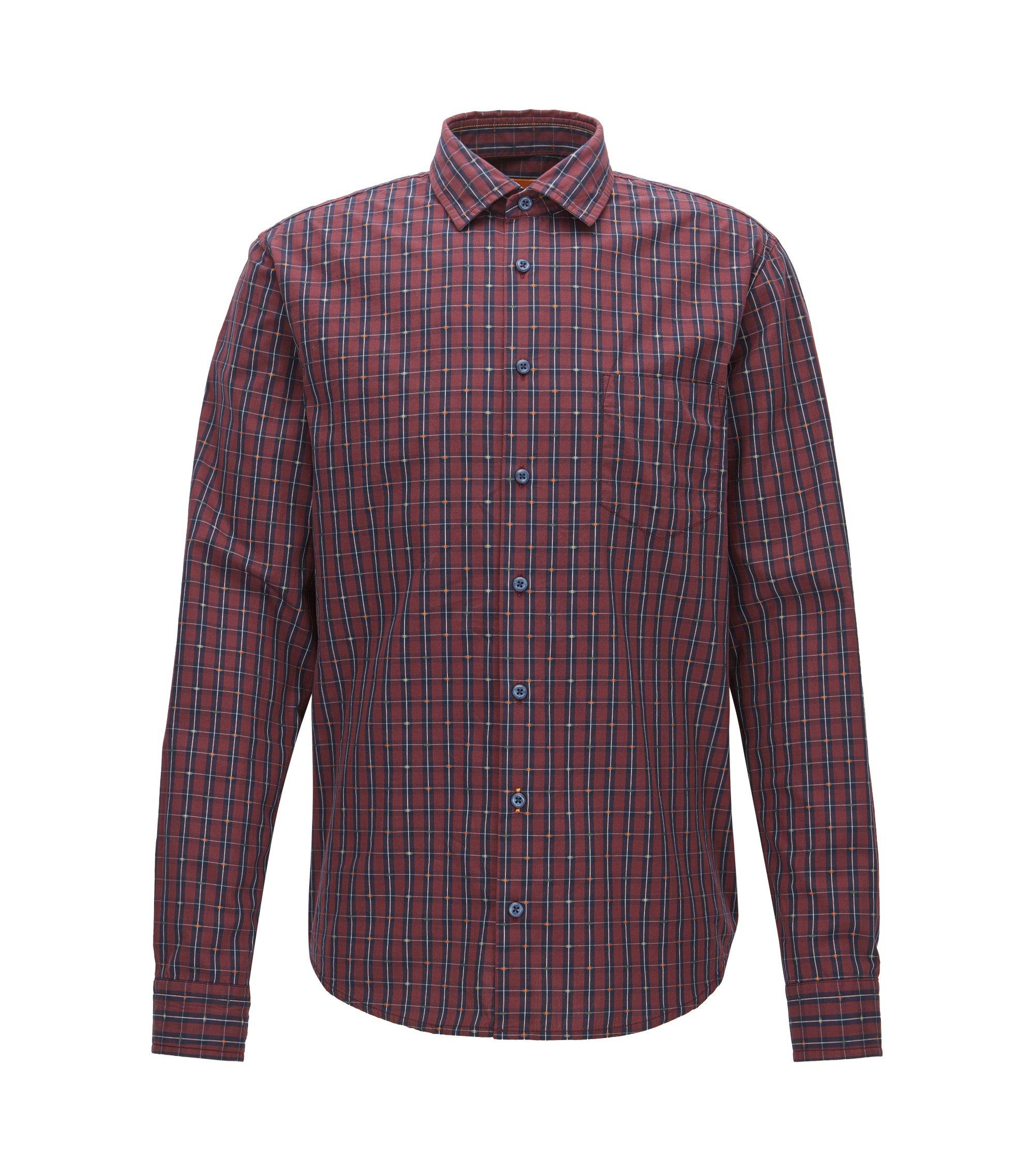 Slim-fit overhemd van fil coupé-katoen met ruitdessin, Bedrukt