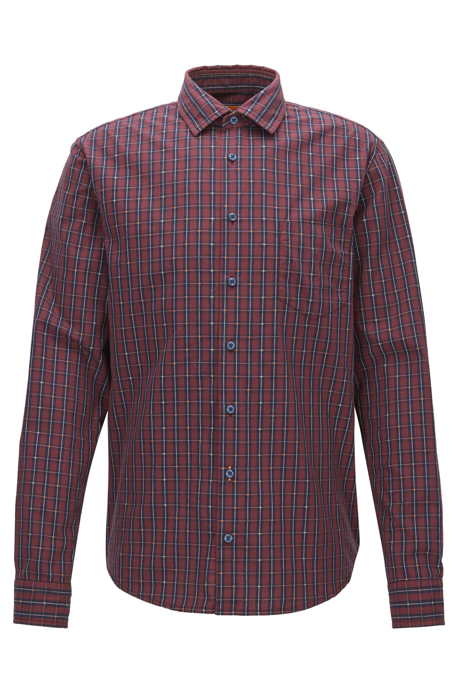 Camicia a quadri slim fit in cotone con fil coupé