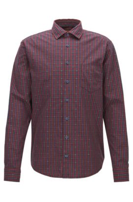 Slim-fit checked shirt in fil-coupé cotton, Patterned
