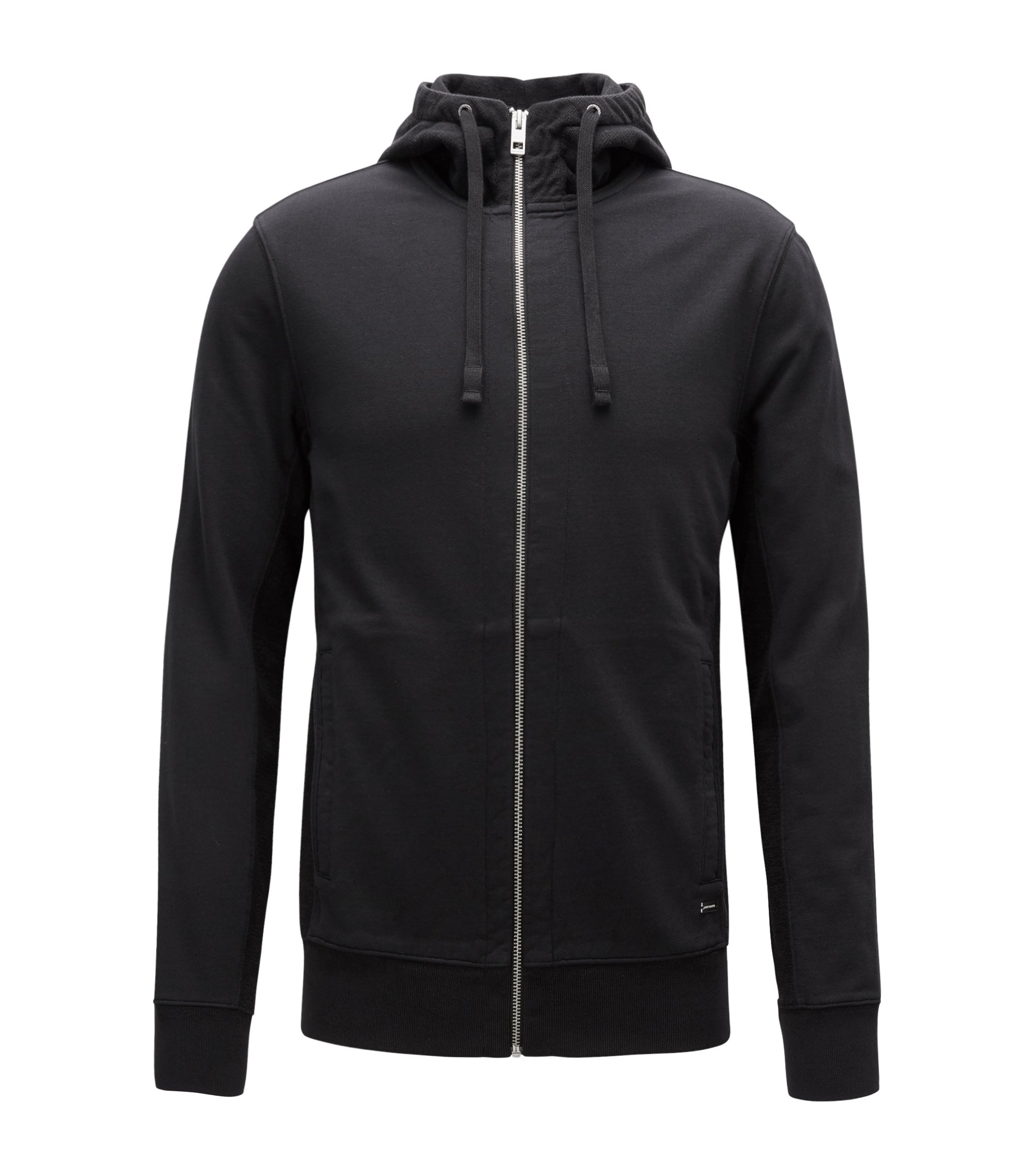 Slim-Fit Kapuzenjacke aus French Terry, Schwarz