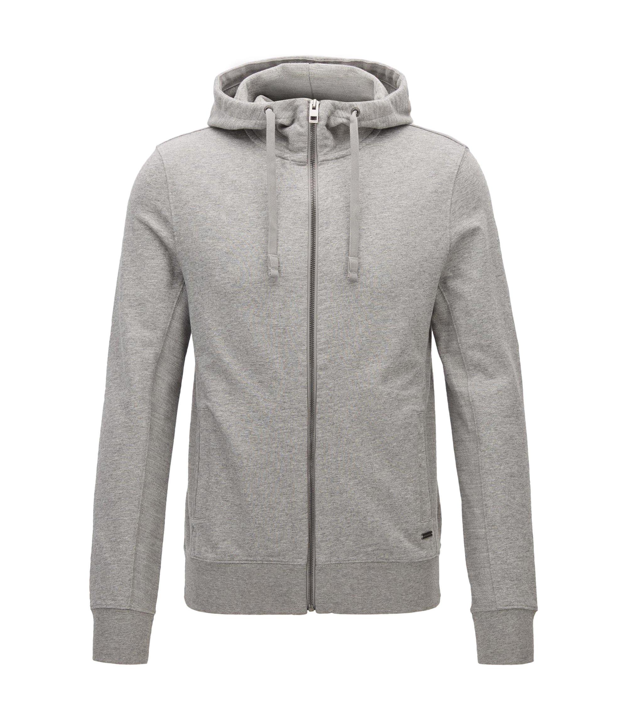Cotton-mix zip-through sweater, Light Grey