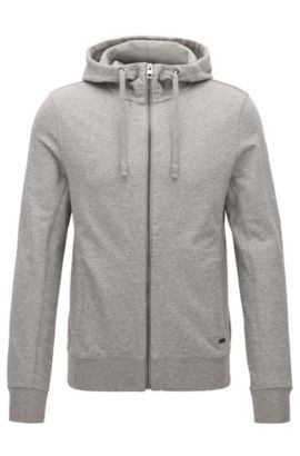 Slim-Fit Kapuzenjacke aus French Terry, Hellgrau