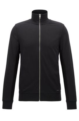Slim-Fit Sweatjacke aus French Terry, Schwarz