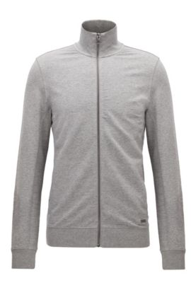 Zip-through sweater in a cotton blend, Light Grey