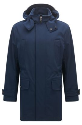 Relaxed-fit parka in technical stretch fabric, Dark Blue