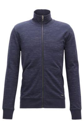 Veste zippée en coton mélangé, Bleu foncé