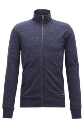 Giacca con zip integrale in misto cotone, Blu scuro
