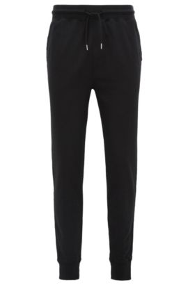 Regular-Fit Casual-Hose aus softem Baumwoll-Mix, Schwarz