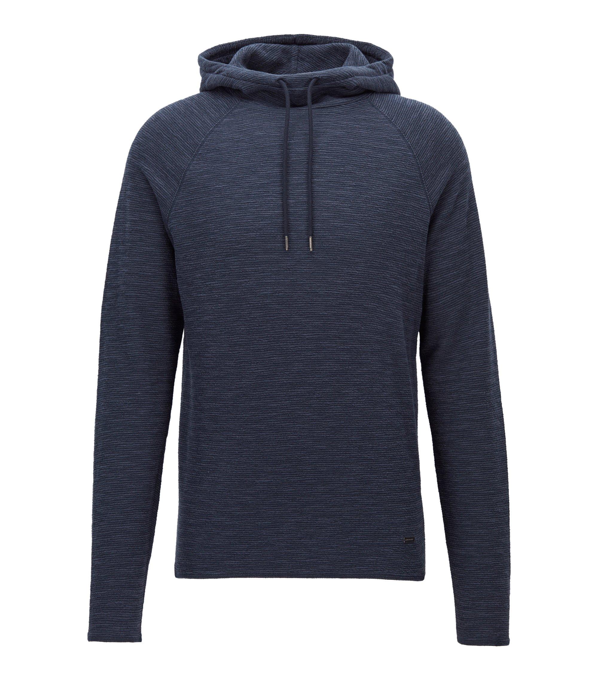 Slim-Fit Kapuzen-Sweatshirt aus strukturiertem Baumwoll-Jersey, Dunkelblau