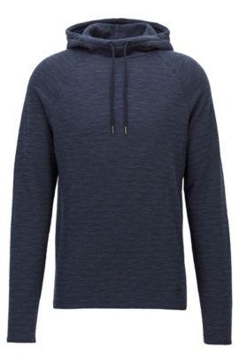 Sudadera con capucha de punto en mezcla de algodón con textura, Azul oscuro