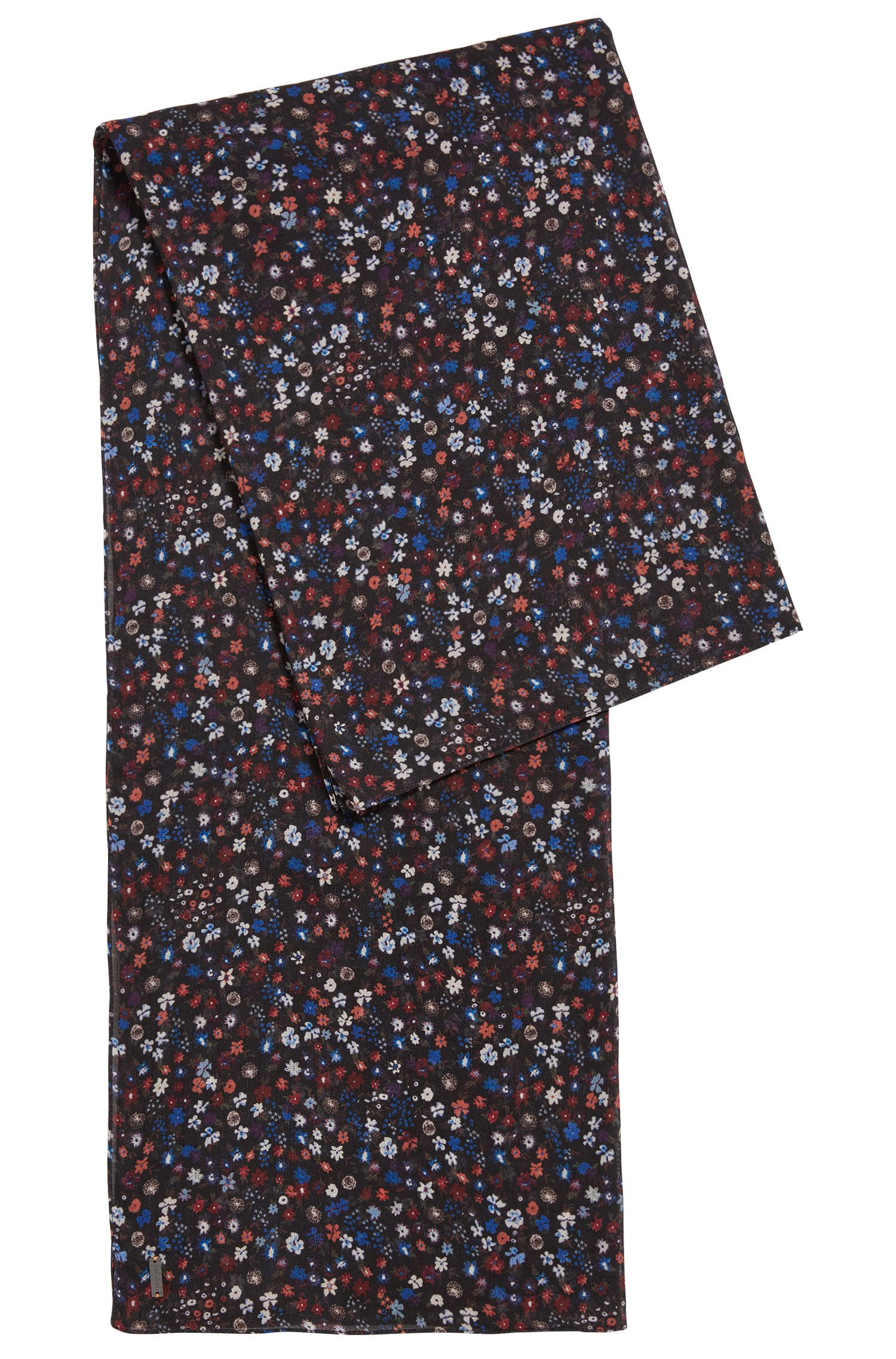 Floral-print cotton-blend scarf