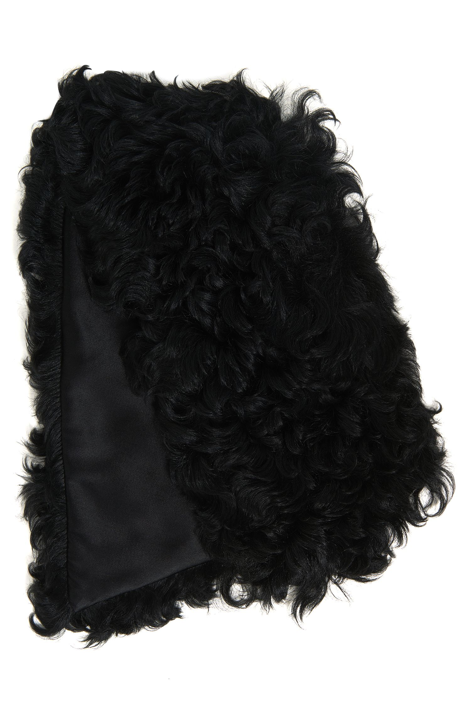 Shearling scarf with silky lining