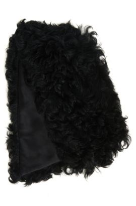 Shearling scarf with silky lining, Black