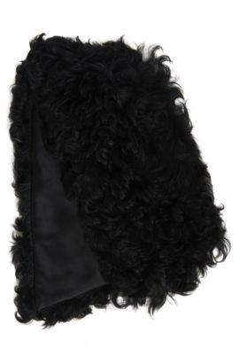 Schal aus Lammfell mit seidiger Innenseite, Schwarz