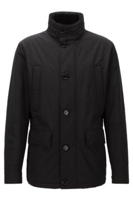Relaxed-Fit Jacke aus wasserabweisendem Material-Mix, Schwarz