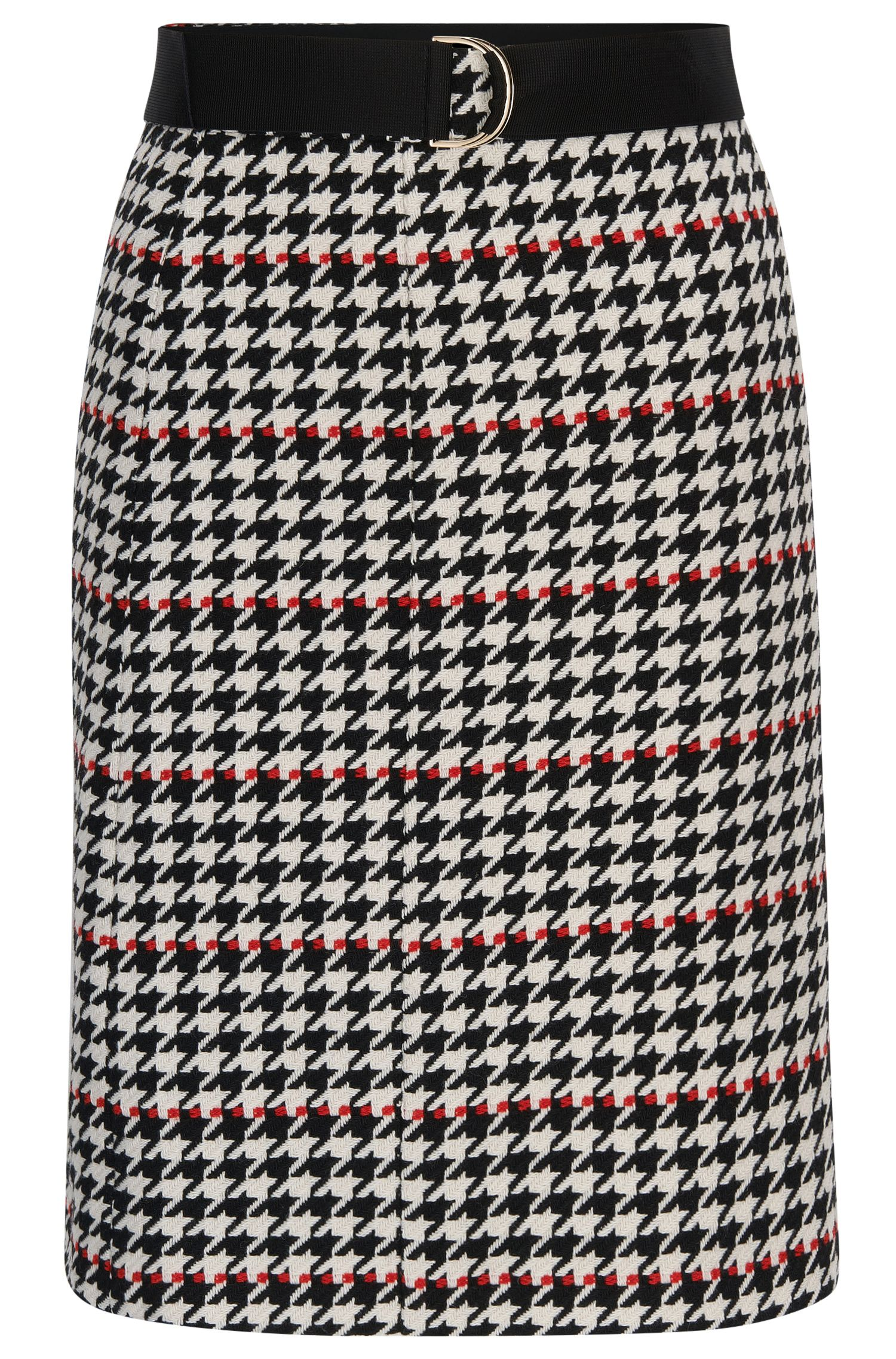 A-line skirt in houndstooth fabric