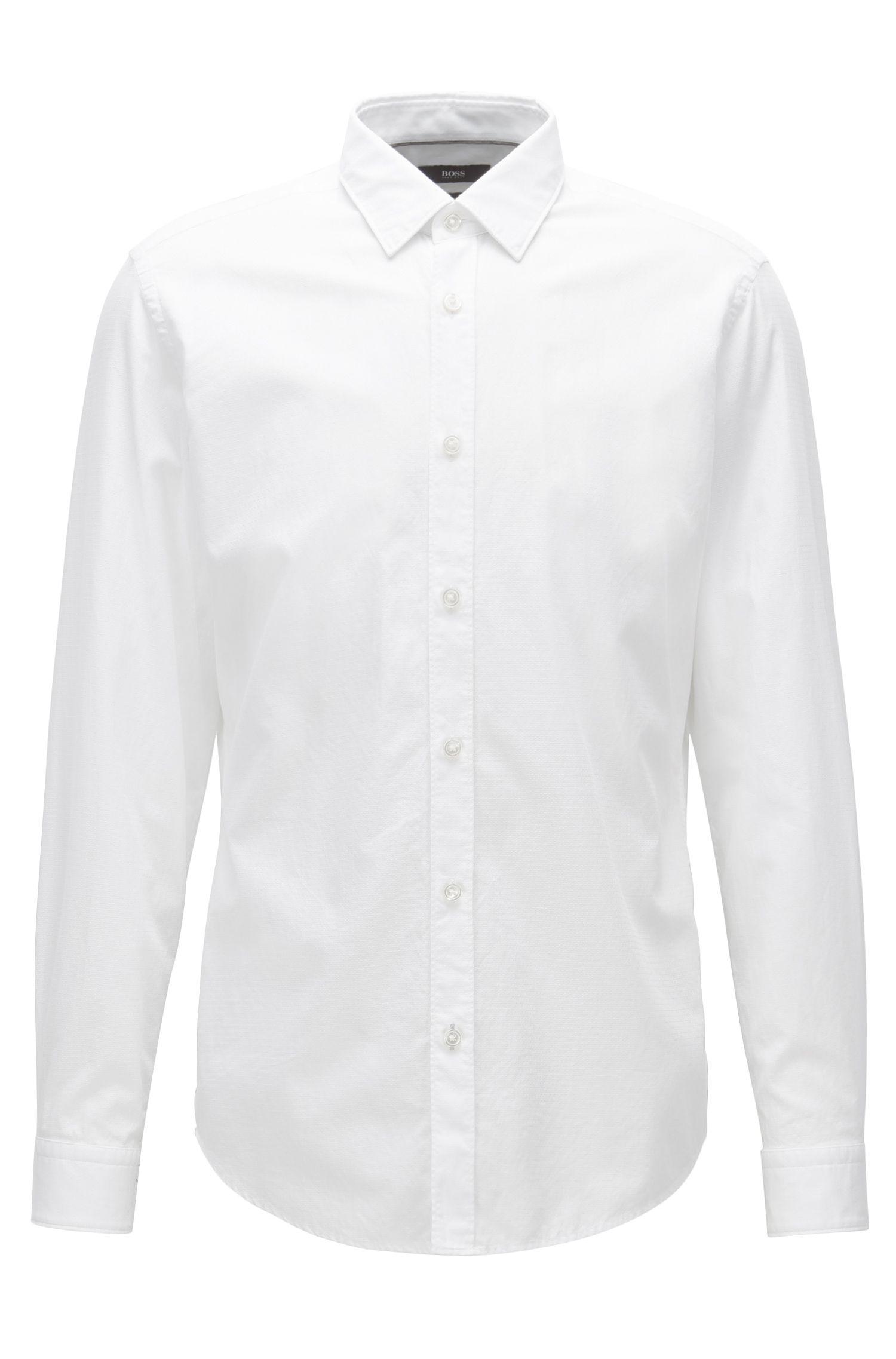 Regular-fit overhemd in een gewassen katoenjacquard