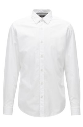 Regular-fit shirt in washed cotton jacquard, White