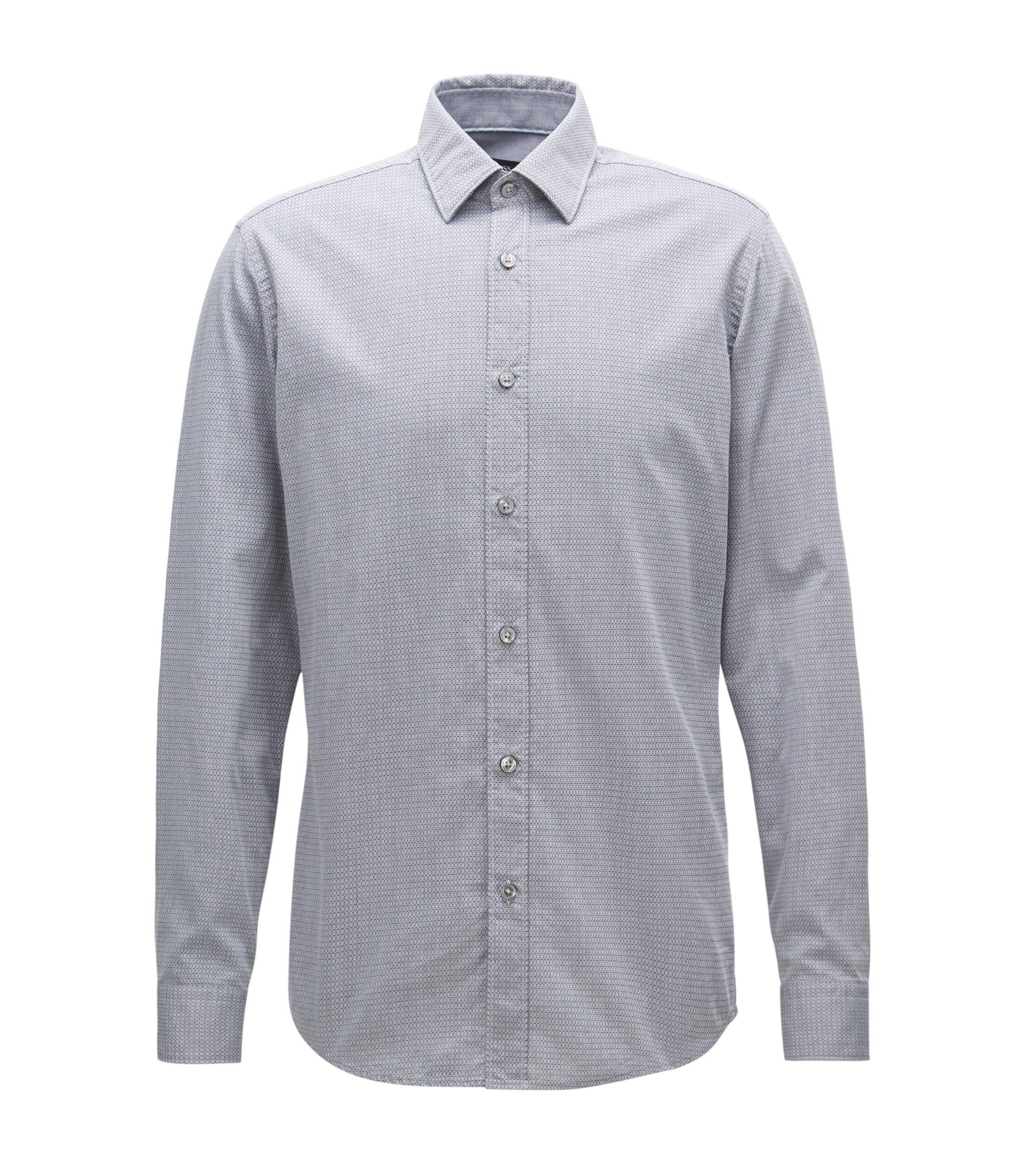 Regular-Fit Hemd aus gewaschenem Baumwoll-Jacquard, Hellblau