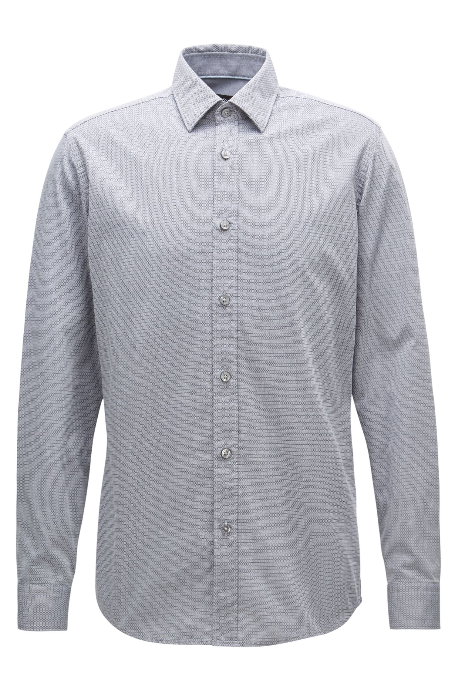 Regular-fit shirt in washed cotton jacquard