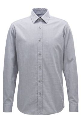 Regular-fit shirt in washed cotton jacquard, Light Blue