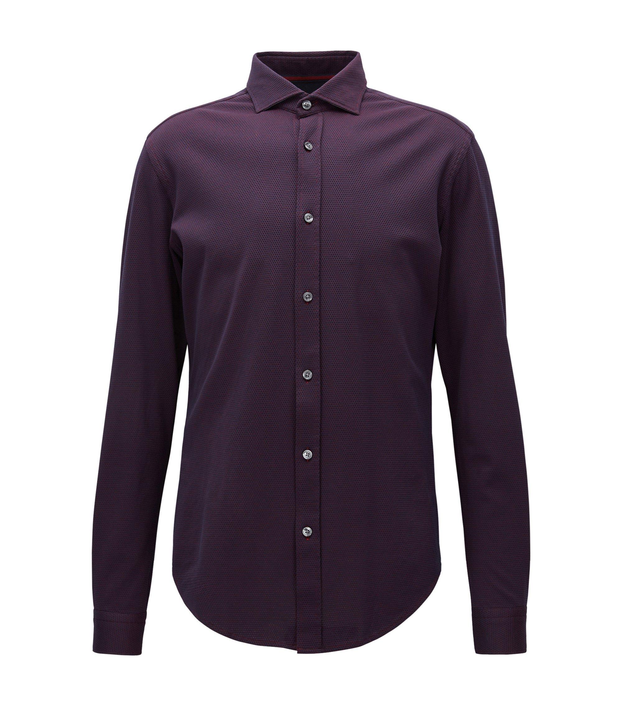 Slim-fit overhemd van gestructureerde jersey, Donkerpaars