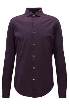 Slim-fit shirt in textured jersey, Dark Purple
