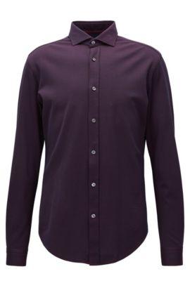Slim-Fit-Hemd aus elastischer Baumwolle mit Struktur, Dunkel Lila
