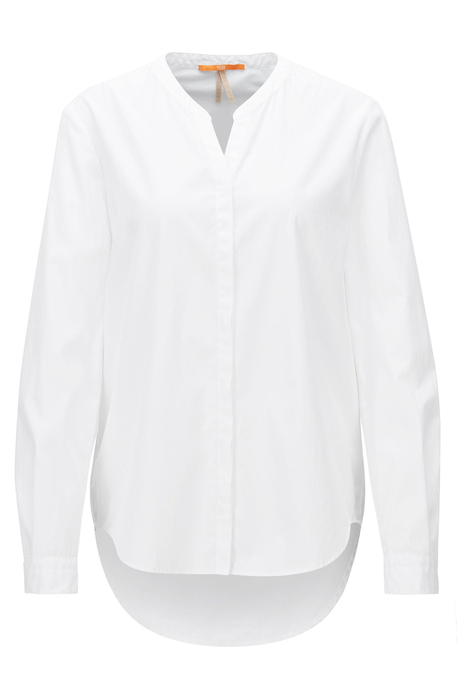 Relaxed-fit cotton shirt with stand collar