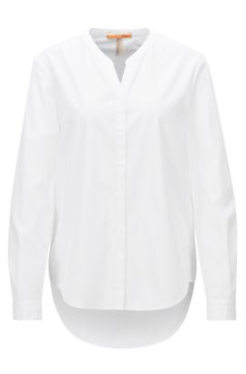 Relaxed-fit cotton shirt with stand collar, White