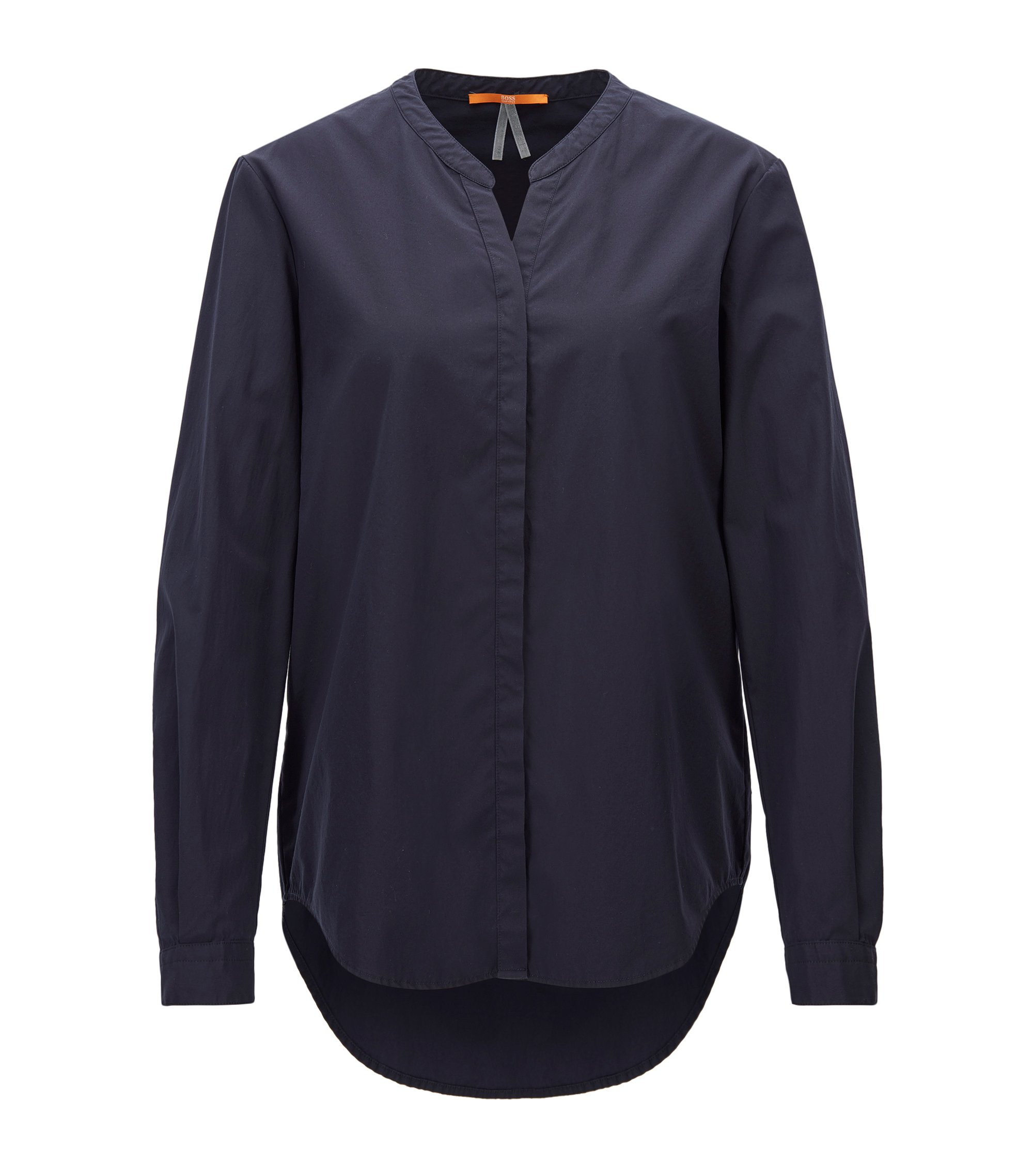 Camicia in cotone relaxed fit con colletto rialzato, Blu scuro
