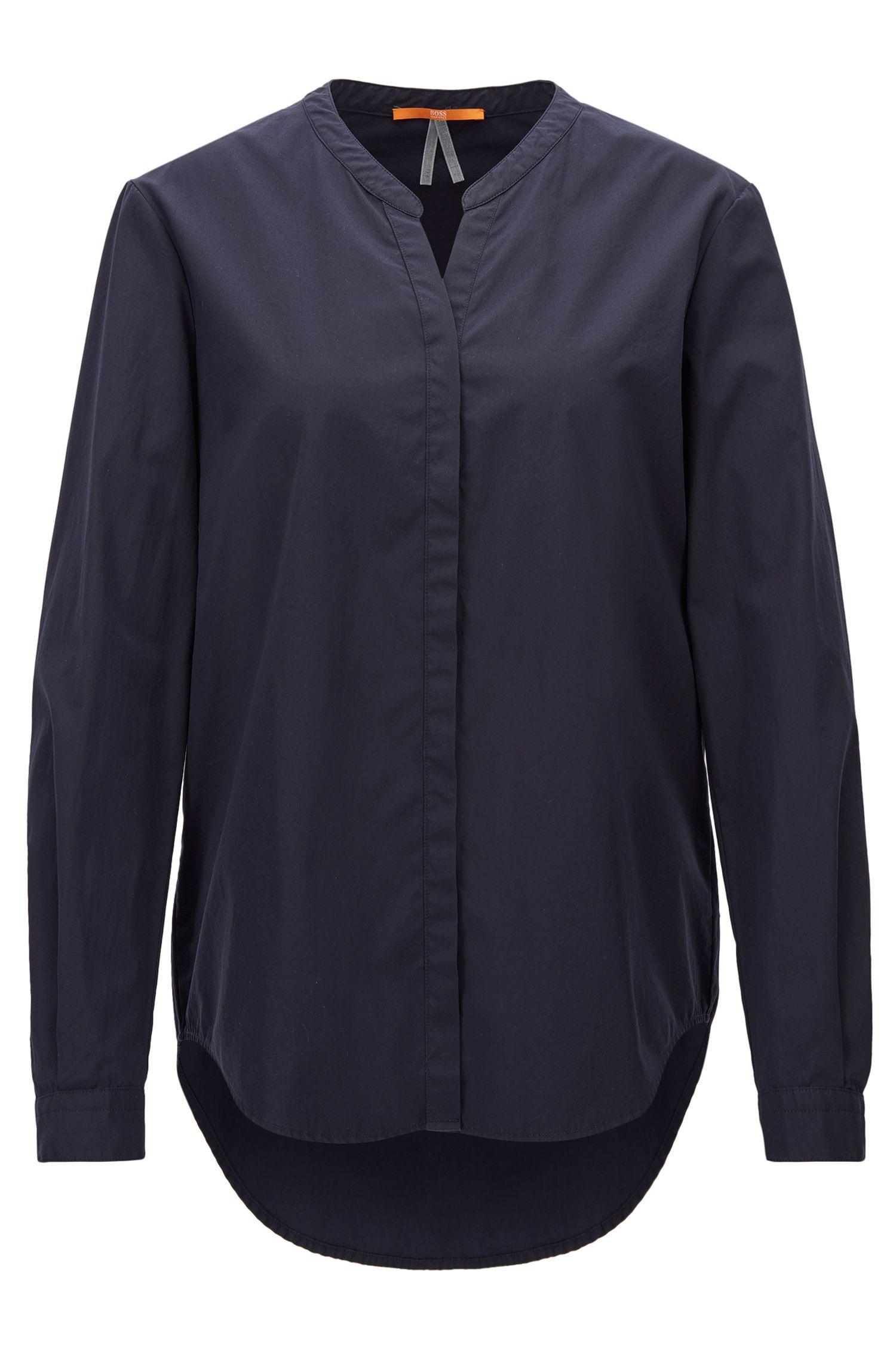 Relaxed-Fit-Bluse aus Baumwolle mit Stehkragen