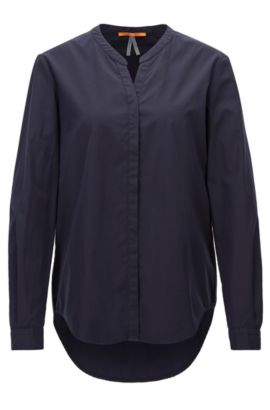 Relaxed-fit cotton shirt with stand collar, Dark Blue