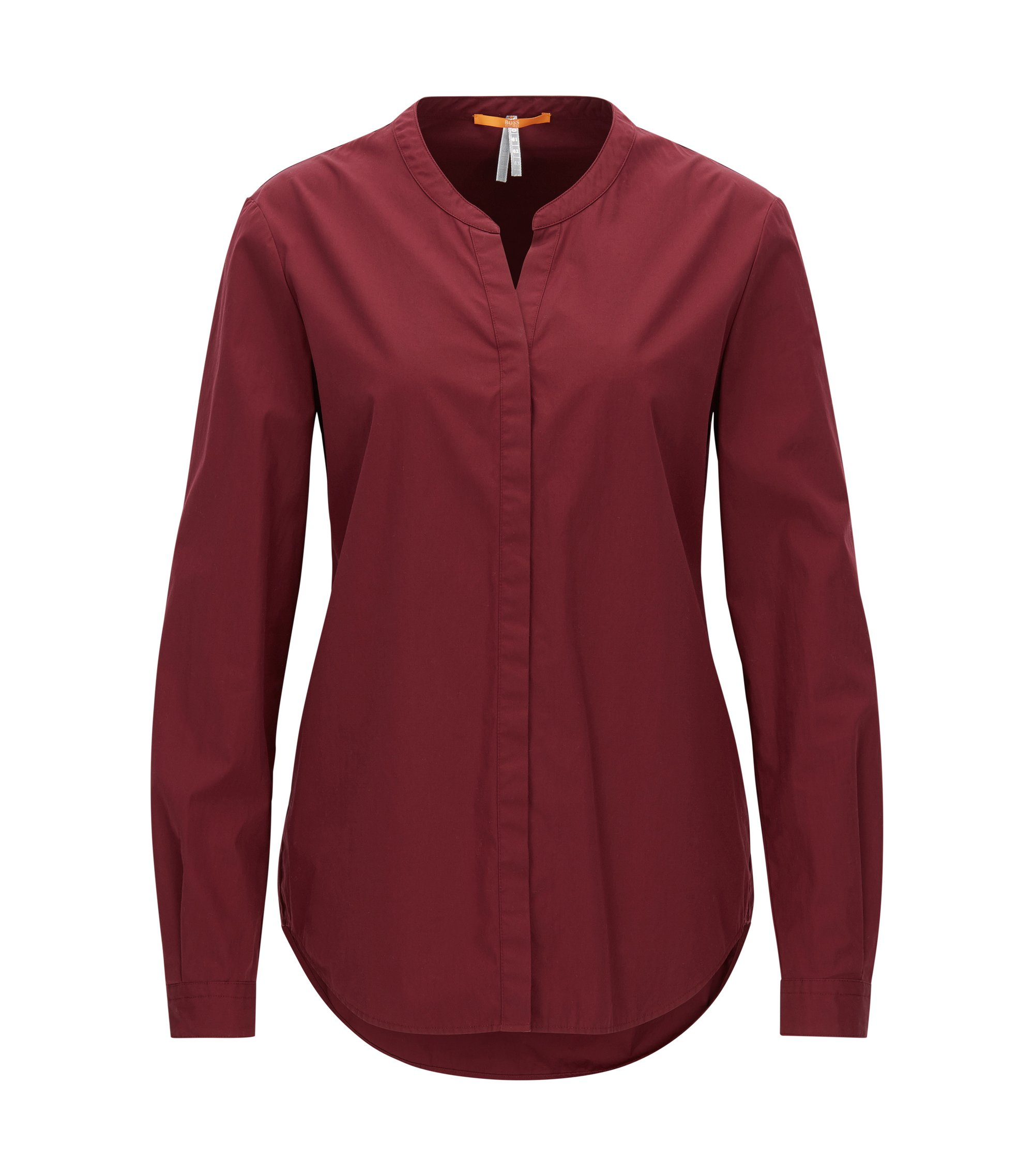 Camicia in cotone relaxed fit con colletto rialzato, Rosso scuro