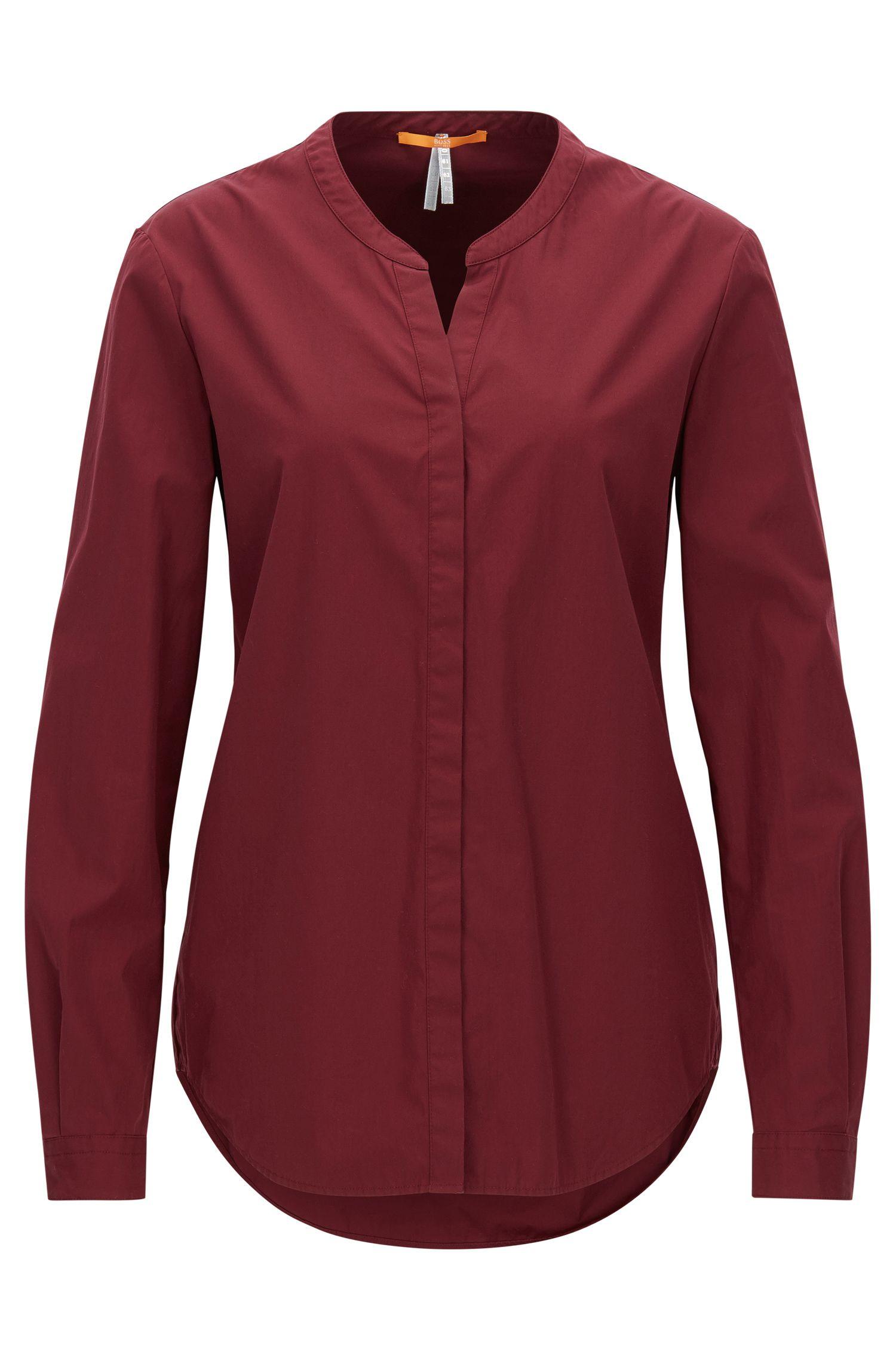Relaxed-Fit Bluse aus Baumwolle mit Stehkragen
