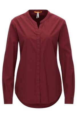 Relaxed-fit cotton shirt with stand collar, Dark Red